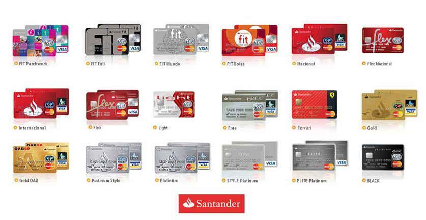 Santander possui dezenas de cartões de crédito disponíveis (imagem: divulgação)