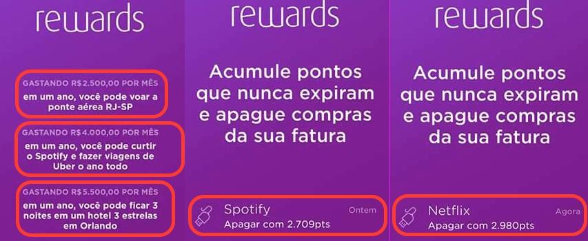 Print do APP Nubank no qual exemplifica a utilização dos pontos no programa Rewards (reprodução)