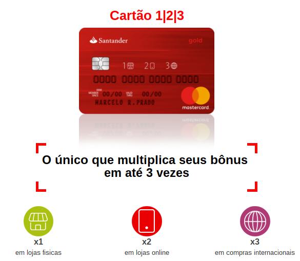 82d0b51cdc 123 é o cartão de crédito do banco Santander que multiplica seus pontos de  acordo com o tipo de compra realizada  estabelecimento físico