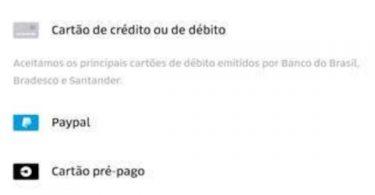 UBER CARTÃO DE DÉBITO