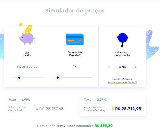 InfinitePay simulador de taxas
