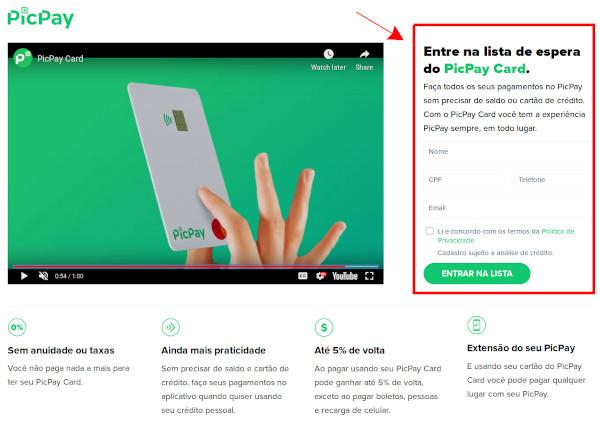 PicPay Card MasterCard site de solicitação