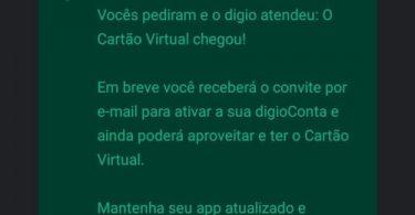 Cartão virtual Digio Visa liberado