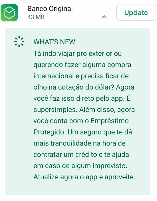 Cotação do Dólar no app do Banco Original