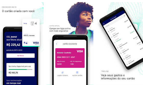 tela do app Credicard Beta Android