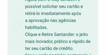 Way Santander impressão de cartão em agências