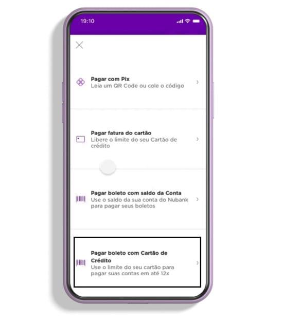 Nubank recurso de pagamento de contas com cartão